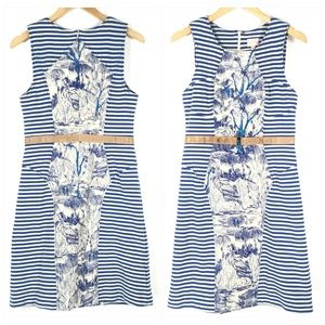 Tracy Reese French Toile Blue Striped Dress Size 8